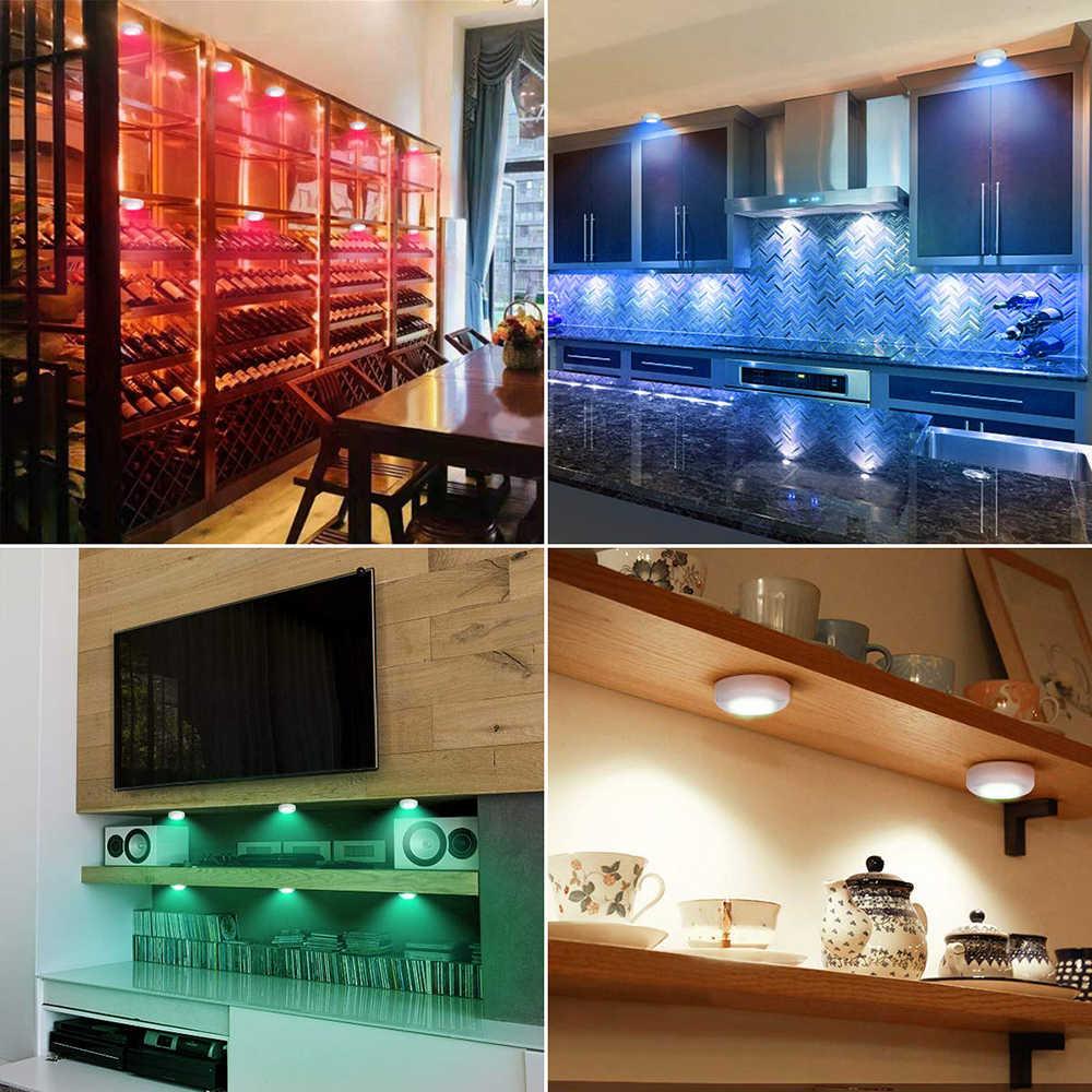 RGBW 16 couleurs led sous le gradateur d'éclairage du Cabinet et fonction de synchronisation led Puck lumières lampe de nuit pour armoire fermer la garde-robe