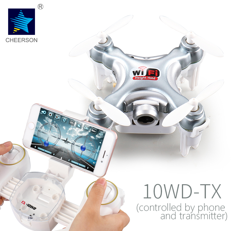 Cheerson UAV CX-10WD-TX 4CH 6-Axis Gyro drone with 0.3MP Camera Phone WIFI Control Hight Hold RC Quadcopter LED light pokemon cheerson cx 10wd mini wifi fpv rc quadcopter bnf gold