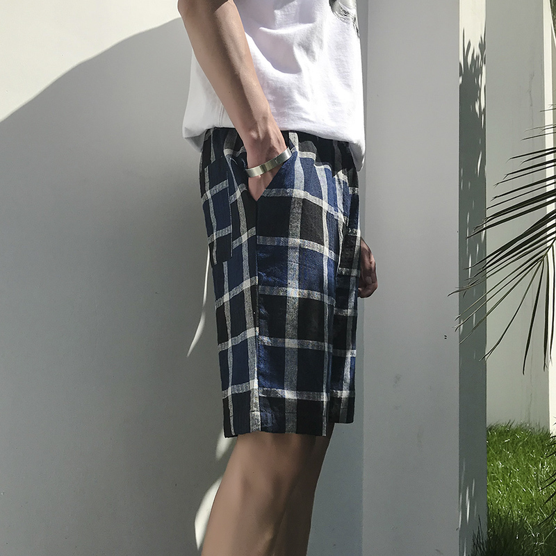 2018 Summer Fashion Casual Trouses Men Cotton Elastic Waist Loose Shorts Male Plaid Knee Length Leisure Solid Color Youth Pop