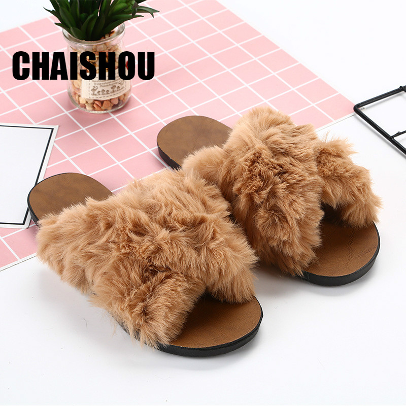 CHAISHOU Winter indoor Women Home Slippers Faux Fur Fashion Warm Shoes Woman Slip on Flats Female Slides Black brown Size 36-40CHAISHOU Winter indoor Women Home Slippers Faux Fur Fashion Warm Shoes Woman Slip on Flats Female Slides Black brown Size 36-40