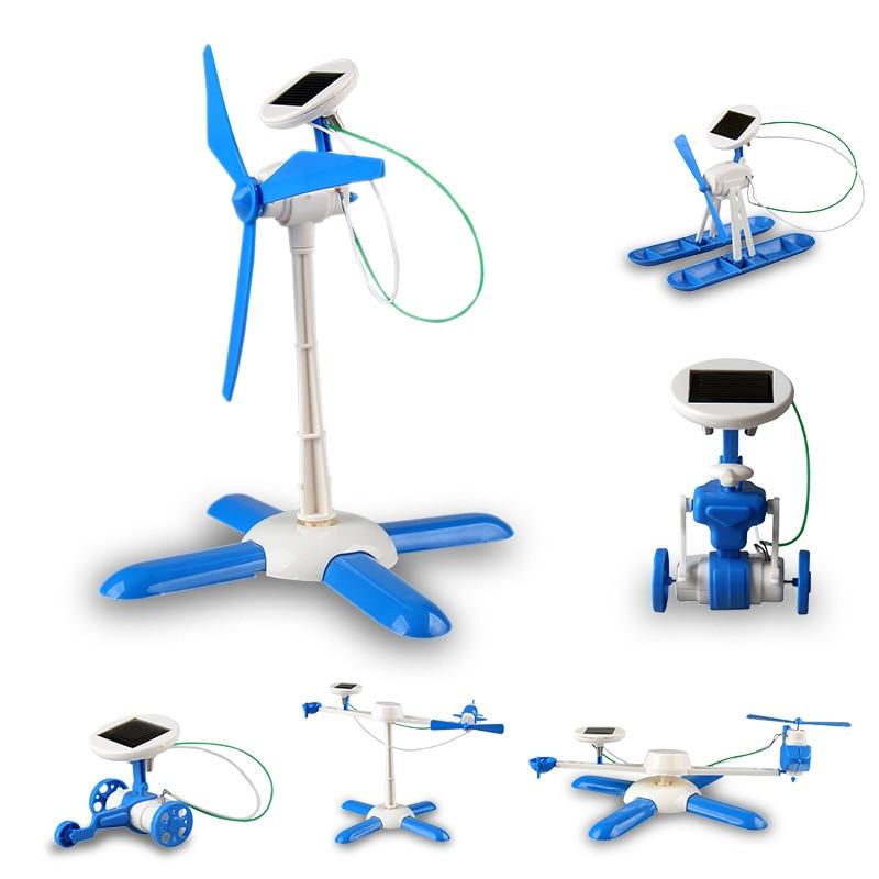 New 6 In 1 DIY Solar Toy Kit Robot Windmill Plane Car Educational Solar Power Kits Novelty Solar Robots For Child Boy Gril Gift