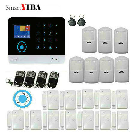 SmartYIBA 433MHz Wireless Black 3G GSM & WIFI DIY Smart Home Security Alarm Systems Kit Infrared Motion Sensor APP Control