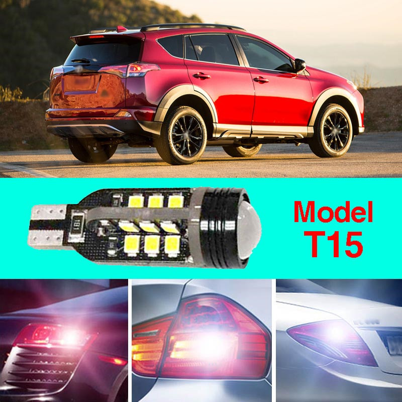 Error Free T15 Socket 360 Degrees Projector Lens LED Backup Reverse light R5 Chips Replacement Bulb For Toyota RAV4 error free t15 socket 360 degrees projector lens led backup reverse light r5 chips replacement bulb for hyundai tucson