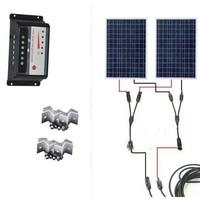 Solar Kit 200W Panel Solar 12V 100W 2Pcs Lot Solar Charge Controller 12V 24v 20A MC4