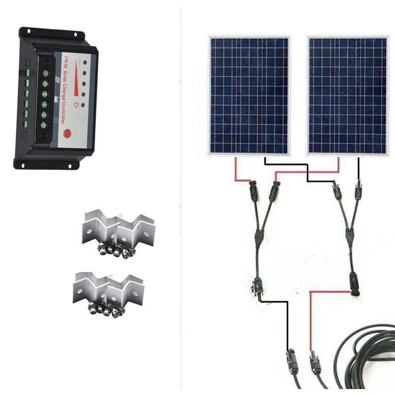 Solar Kit 200W Panel 12V 100W 2Pcs/Lot Charge Controller 12V/24v 20A MC4 Connector 5 M Cable Z Bracket Caracvan Car