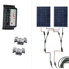 Solar Kit 200W Panel Solar 12V 100W 2Pcs/Lot Solar Charge Controller 12V/24v 20A MC4 Connector 5 M Cable Z Bracket Caracvan Car