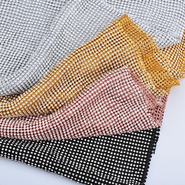 JUNAO 45 120cm Gold Silver Black Sewing Glass Rhinestones Fabric Metal Trim  Aluminum Mesh Clear Crystal Appliques For DIY Crafts 2e882b253086