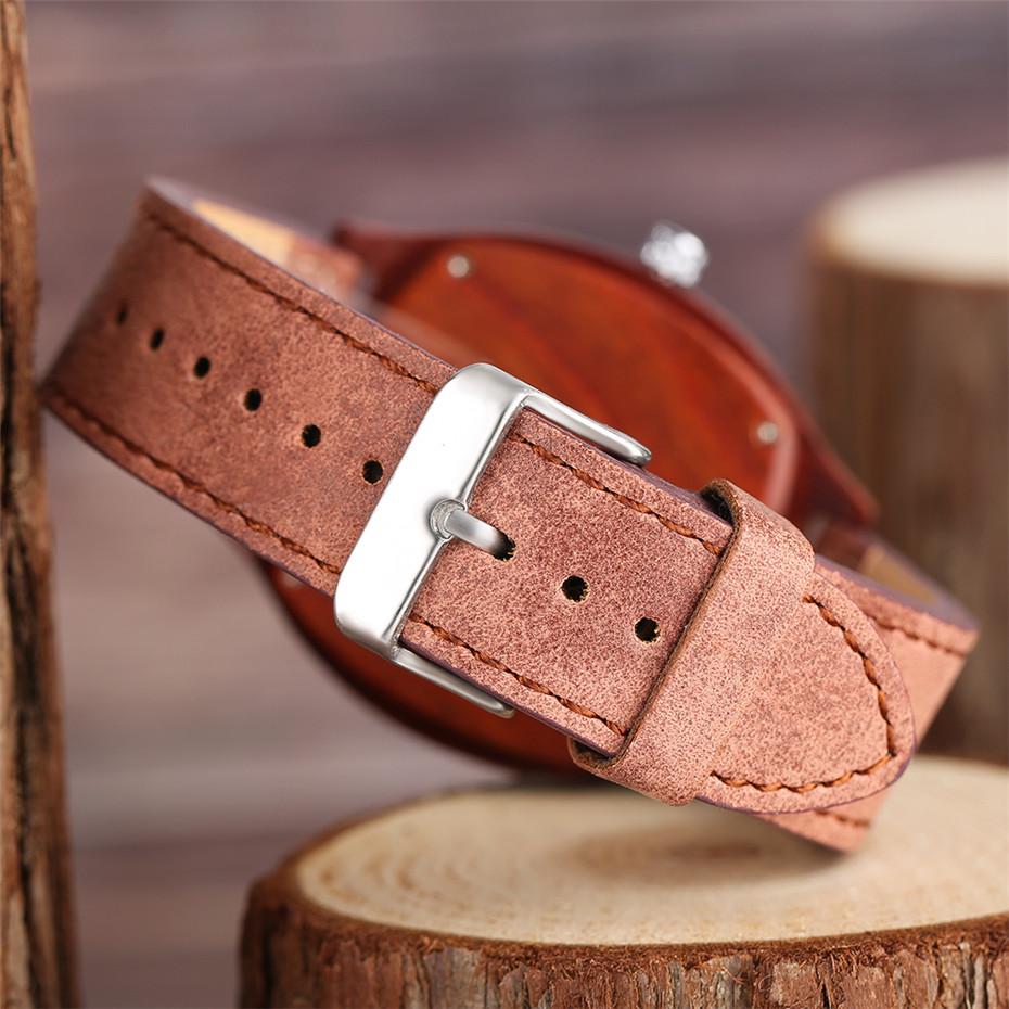 YISUYA Bamboo Wooden Watch Men Quartz Leather Band Analog Creative Watches Roman Numerals Dial Unqiue Shape Fashion Clock Gift (10)