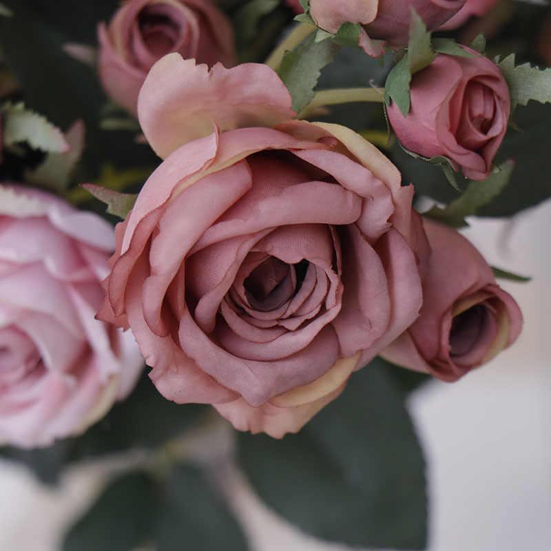 ประดิษฐ์ดอกไม้ผ้าไหมกุหลาบบ้านงานแต่งงานในร่มตกแต่งดอกไม้ปลอมทำงาน DIY เครื่องประดับ Touch ผ้าไหมของขวัญวาเลนไทน์