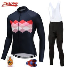 2019 Team FUALRNY Long sleeve Ropa Ciclismo Cycling Jersey sets 9D/winter Thermal Fleece/MTB Bike Clothes For Man Bright chest