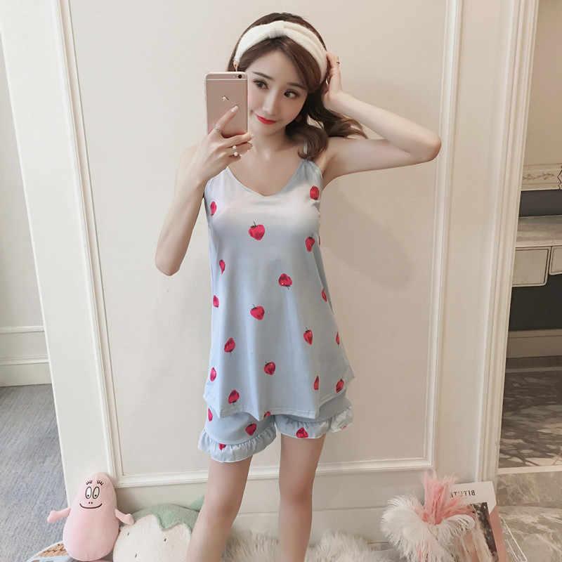 女性睡眠摩耗夏コットンパジャマセットフラワープリントスパゲッティストラップキャミトップとフリル裾ショーツツーピースパジャマセット
