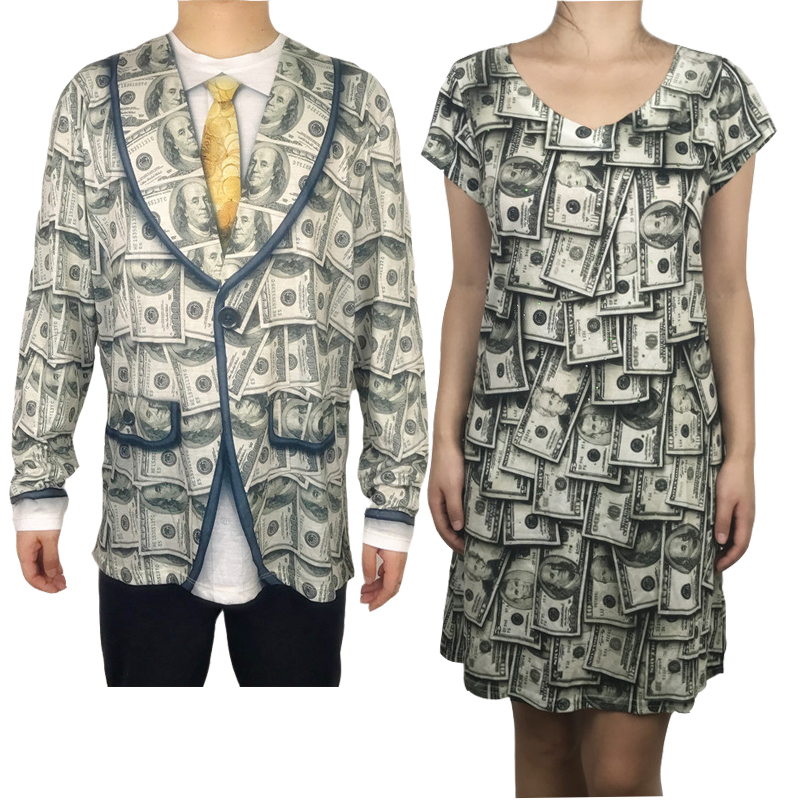 Funny Dollar Printed Matching Halloween Costumes for Partner Cute Couples Halloween Costumes Cash Printed Costume Plus Size image