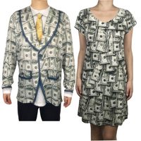 Funny Dollar Printed Matching Halloween Costumes for Partner Cute Couples Halloween Costumes Cash Printed Costume Plus Size