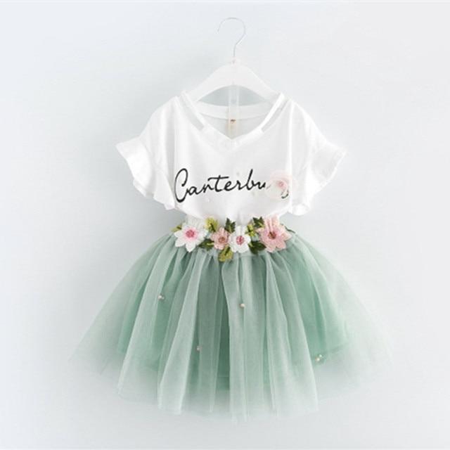 1f2773c62358 DFXD Toddler Girl Clothing Sets 2017 Summer New Fashion White Short Flare  Sleeve Print Shirt+Flower Net Yarn Skirt Girls Outfits