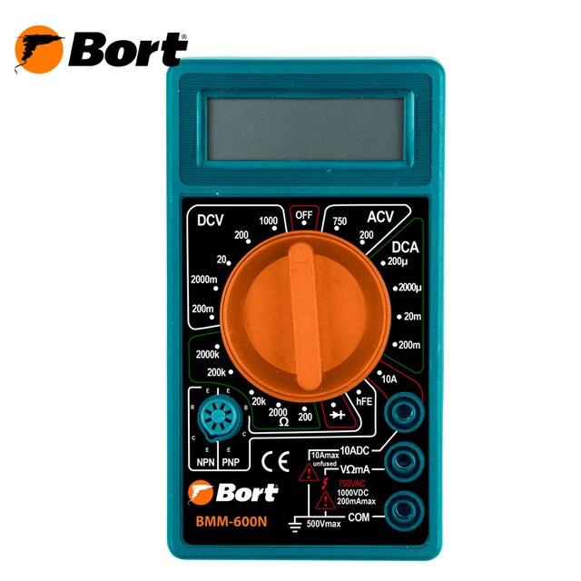 Мультитестер Bort BMM-600N (Постоянное напряжение 0-1000 В, переменное напряжение 0-750 В, постоянный ток 0-10 А, сопротивление 0-2 МОм)
