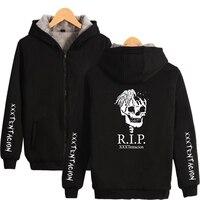 Xxxtentacion Hoodies Harajuku Male Zipper Winter Thicken Fleece Warm Jacket Coats Rapper Men's Sweatshirts Xxxtentacion