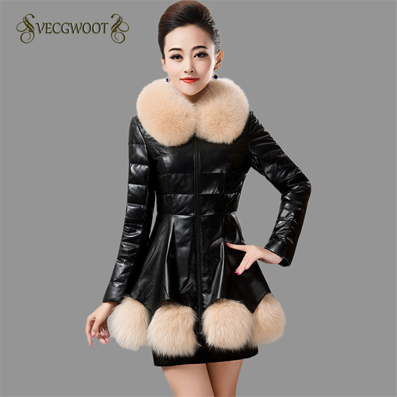 Fashion Women 2019 New Winter Faux Leather Jacket Long sleeve Solid color Fur collar Slim Fashion