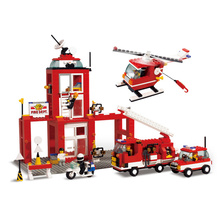 Sluban Model Building Compatible B3100 631pcs Model Building Kits Classic Toys Hobbies Emergency Fire Station