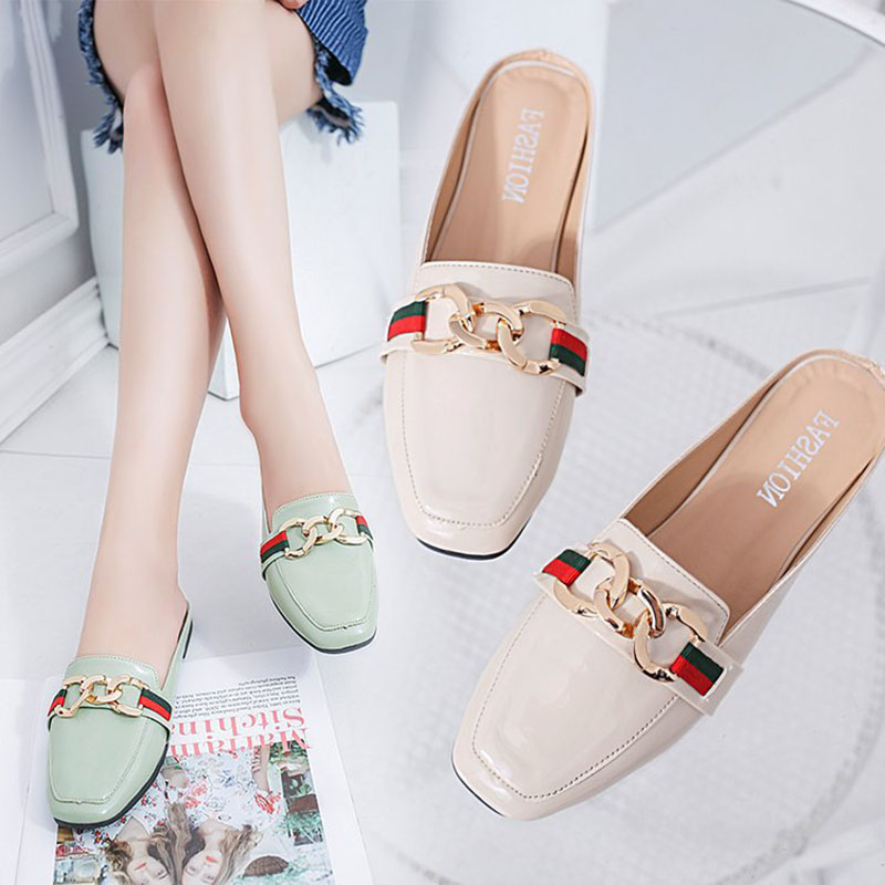 Women Slippers Flat Women shoes Woman Slip On Slides Ladies Fashion Metal Summer Slippers Female Flip Flops Women Mules Shoes miulamiula brand designers 2018 fashion rabbit hair woman flat slides lady shoes furry slippers slip on loafers mules flip flops