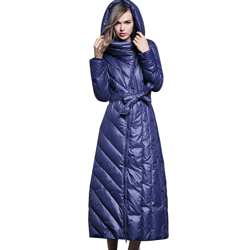 XS-7XL Plus Size 90% Duck Down Coat Fashion Brand Hooded Long Down Jacket Women's Over The Knee Slim Thicker Warm Coat