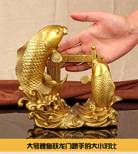 Trazer riqueza tesouro Dinheiro escritório Desenho Talismã eficaz # Ouro peixes pulando Portão Do Dragão FENG SHUI estátua de Bronze