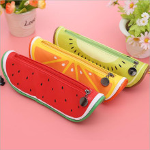 1PCS fruit modeling bag latest geometric stationery pencil bag creative macarons desktop storage bag office and school supplies(China)