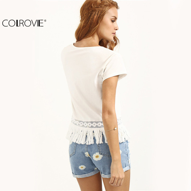 COLROVIE Ladies Casual Shirt New Arrival Cute 2017 Summer Style Women Top White Crew Neck Short Sleeve Tassel Hem Blouse
