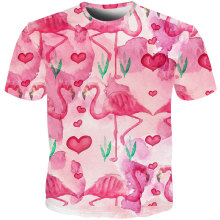 Fashion Men 3D Tshirt Animal Bird Swan Flamingo 3d Printed Hip Hop Pink Heart-shaped Streetwear Tee Shirt Summer Unisex T-shirt