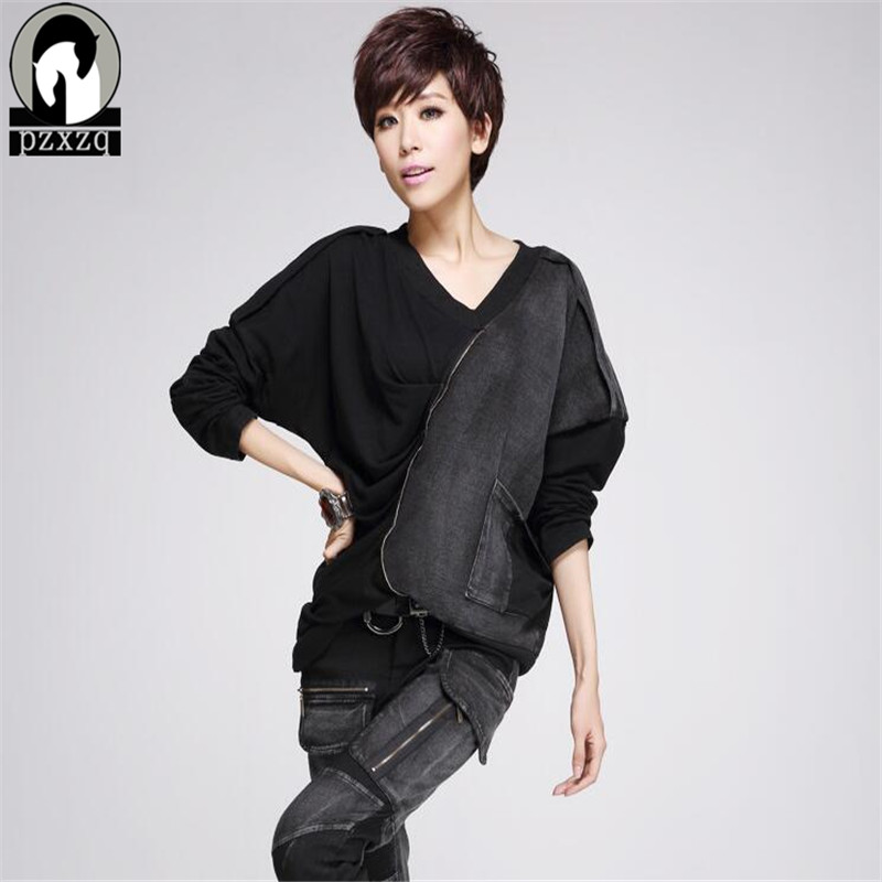 Harajuku Womens Tops Fashion 2019 New Plus Size Chiffon Shirt Women Sexy Black Denim Full Tops Street Blusa Designer Novel Women