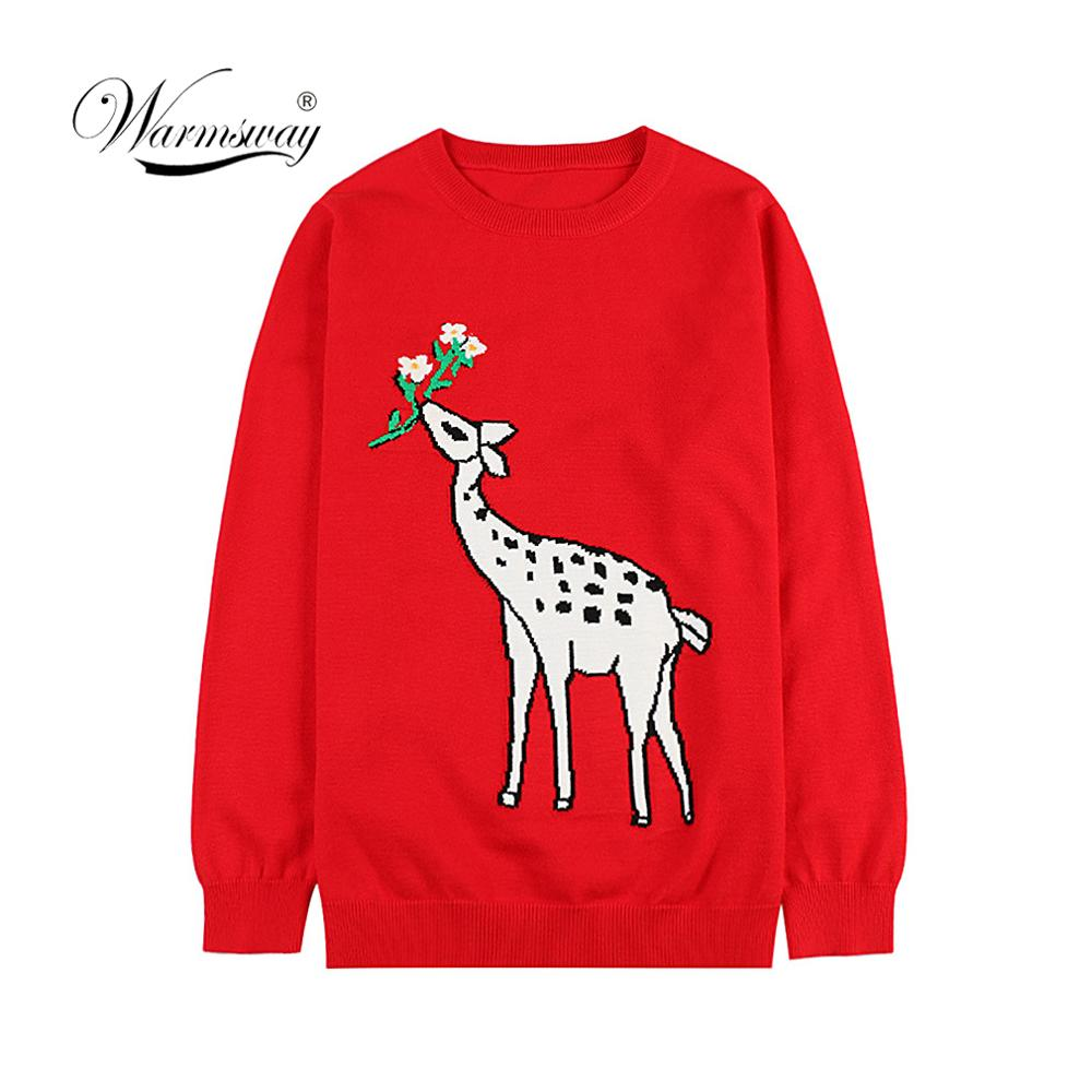2019 Winter Christmas Runway Women Pullovers Sweaters Luxury Deer Jacquard Ladies Casual Knitted Jumper Clothes C-245