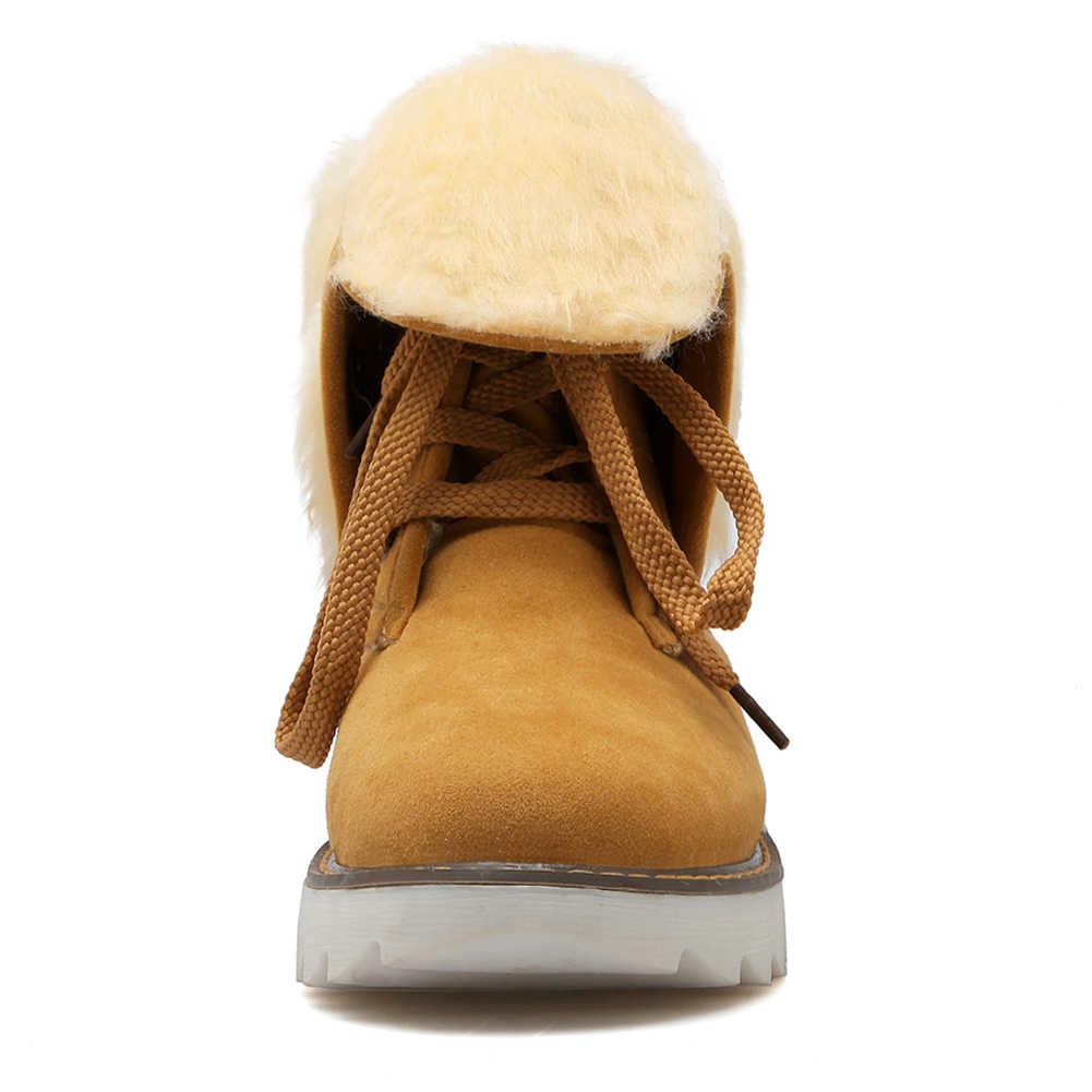 BONJOMARISA 2019 Kış kaymaz Platform Ayak Bileği Kar Botları Kadın 34-43 Sıcak Ekleyin Kürk Patik dantel up Konfor Takozlar Ayakkabı Kadın