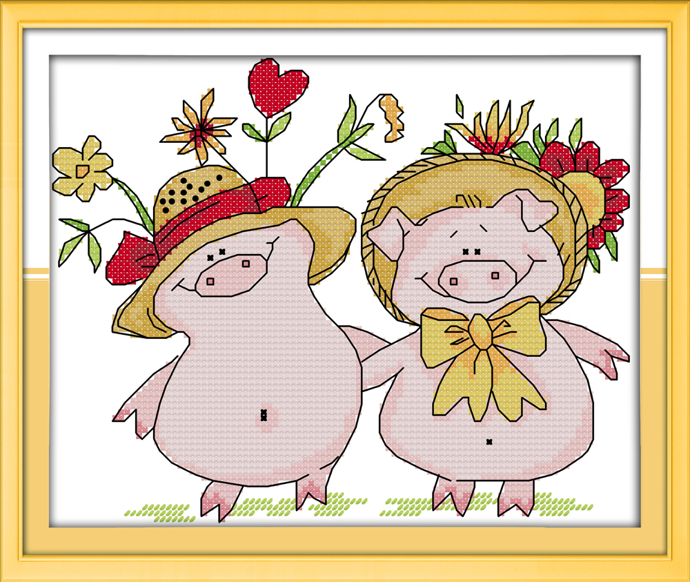 Flower pig cross stitch kit food aida 14ct 11ct count print canvas hand sew cross-stitching embroidery DIY handmade needlework