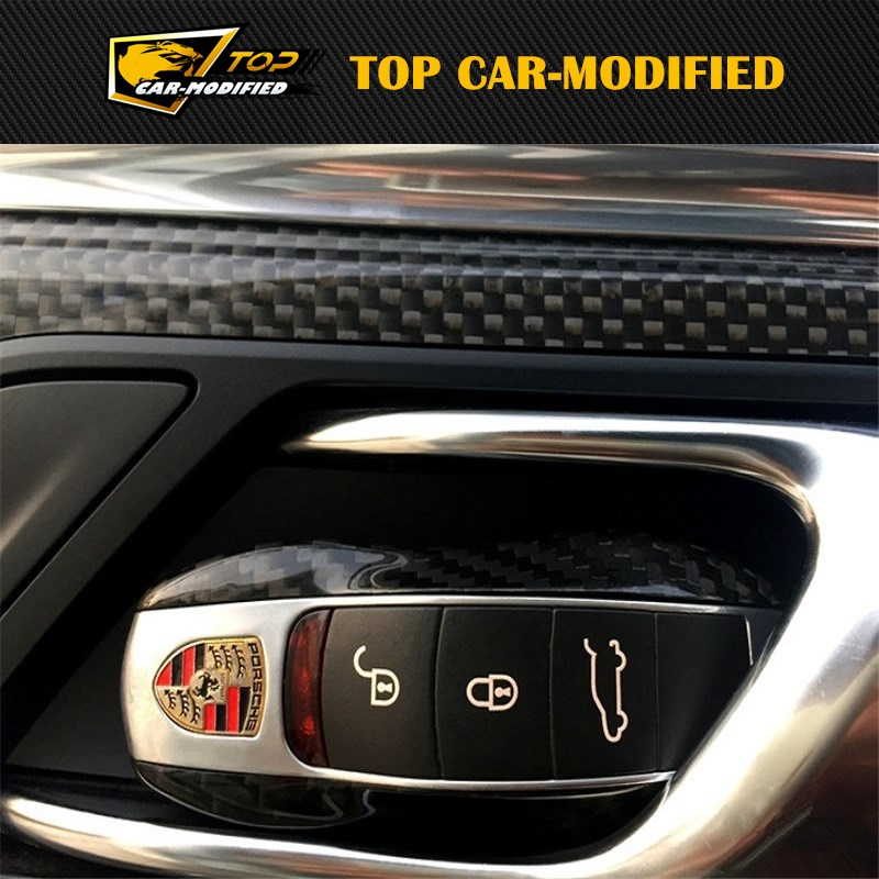 Véritable Fiber de carbone voiture etui clés coque de protection pour Porsche 911 918 Cayenne livraison gratuite