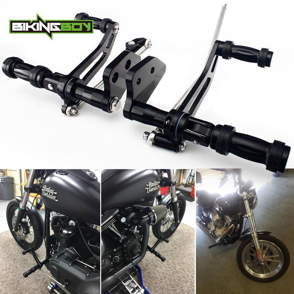 BIKINGBOY Forward Controls Foot Rests FootPegs Rearsets for Harley Davidson Street Bob 06 17 Low Rider