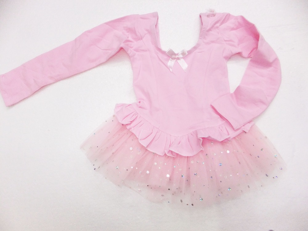 wholesale And retail 2- 6 years Pink & white Long sleeve Girl ballet skirt,kid tutu dress princess dress,baby skirt Size:S-XL