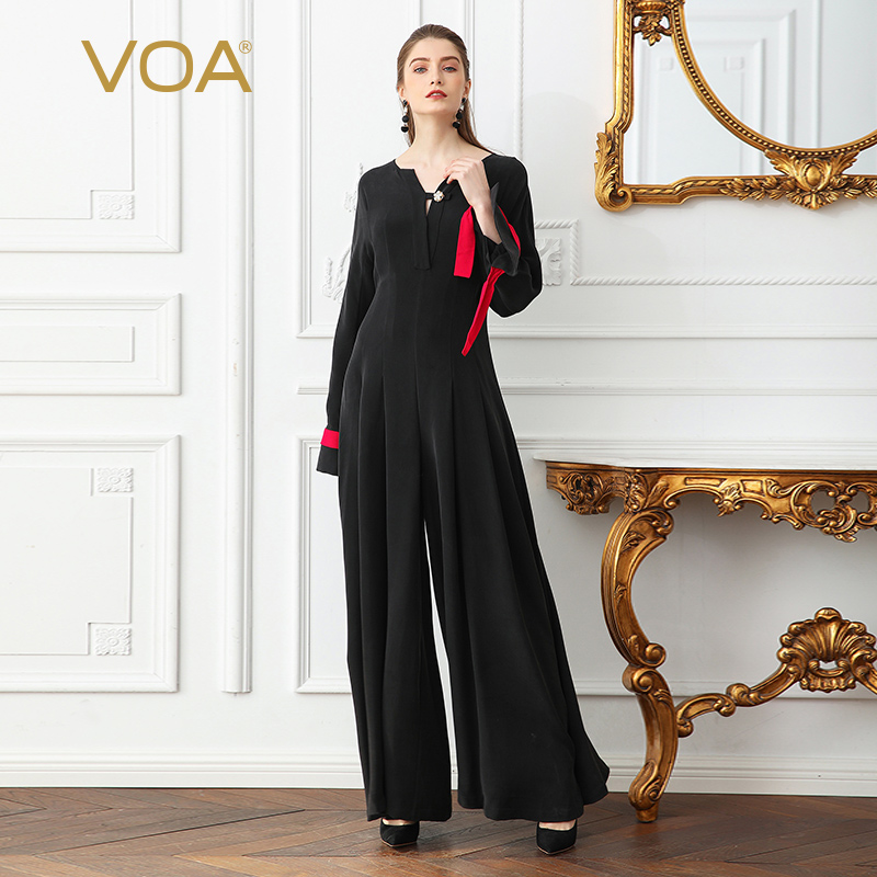 VOA Heavy Silk Plus Size 5XL Black Jumpsuits Women Solid Slim Wide Leg Pants Pearl Clasp Flare Long Sleeve Vintage KLX01201