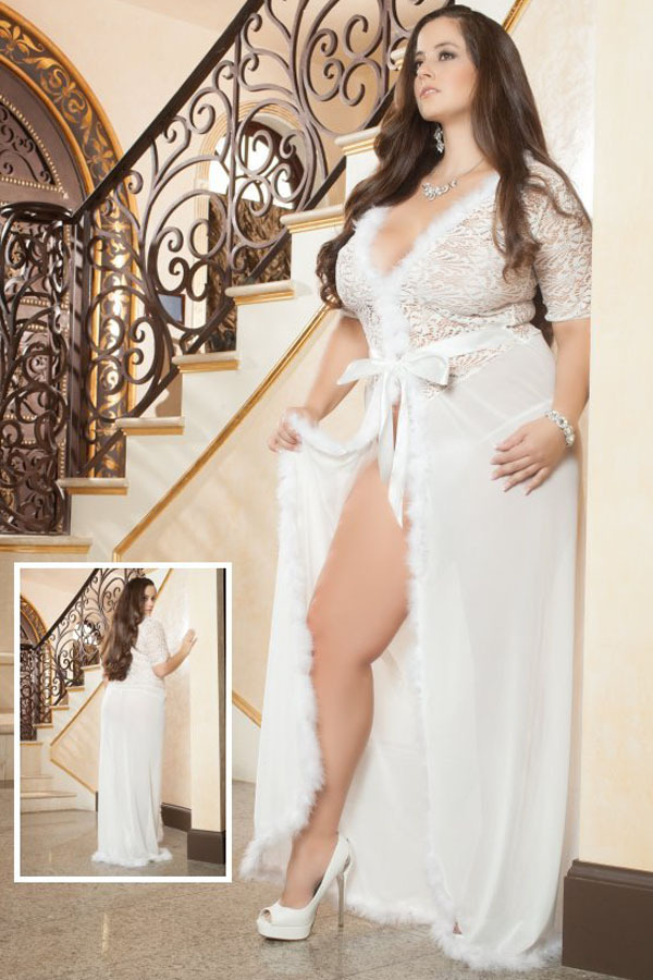 white mesh and fur v neck lingerie gown 60365 sexy nightgown trim