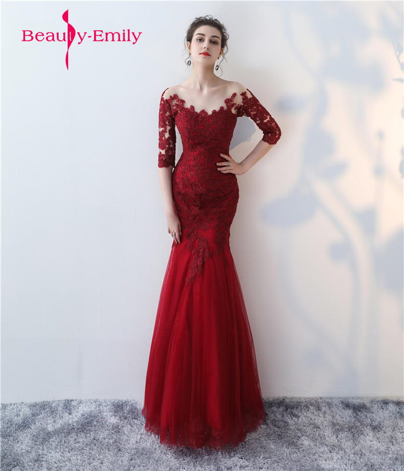 2019 Elegant Appliques Lace Mermaid Long Evening Dress Simple Burgundy Prom Dress Wedding Party Dresses Robe De Soiree