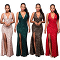 Maxi Long Sequin Dress 2017 New Year Bling Dresses Backless Women Evening Party Split Vestido De Noche Golden Night Club Dress