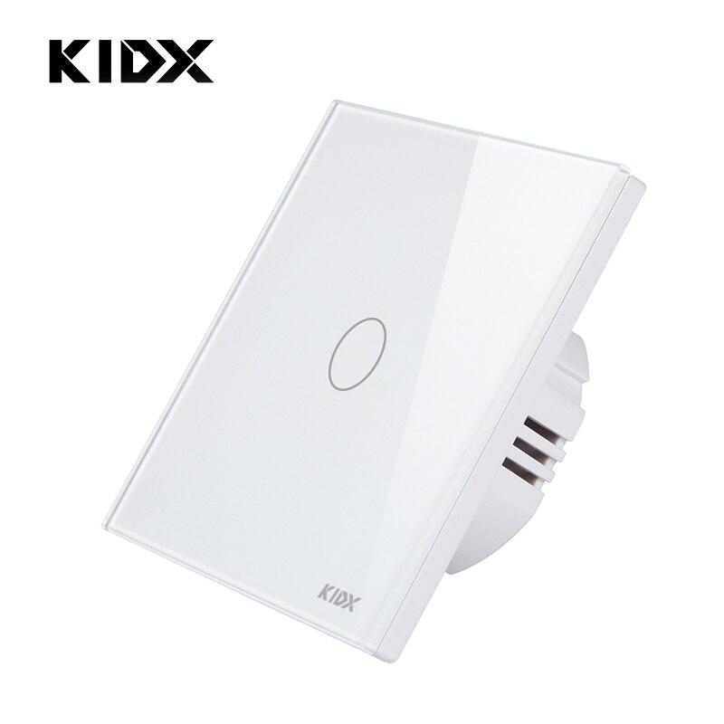 KIDX L'UE Standard Tactile Wall Light Switch 1/2 Gang 1 Façon Panneau Verre Cristal (Pas de Télécommande Fonction)