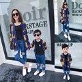 Familia moda otoño 2016 la familia fijó la ropa para la madre y el hijo oso hilo chaqueta de punto prendas de vestir exteriores