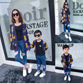 Family fashion autumn 2016 family set clothes for mother and son bear yarn cardigan sweater outerwear