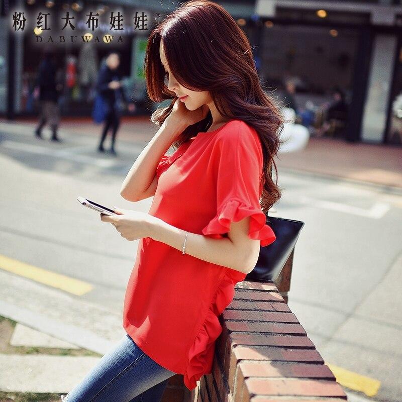 dabuwawa shirt female summer new 2017 new fashion temperament short sleeve loose red font b blouse