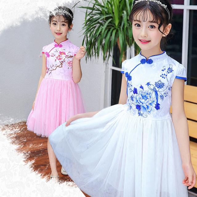 2aab2284788a Chinese Cheongsam Dress Summer China Chi-pao Vintage Floral Print Girls  Dresses Wedding Party Costume size 4 5 6 7 8 9 10 years