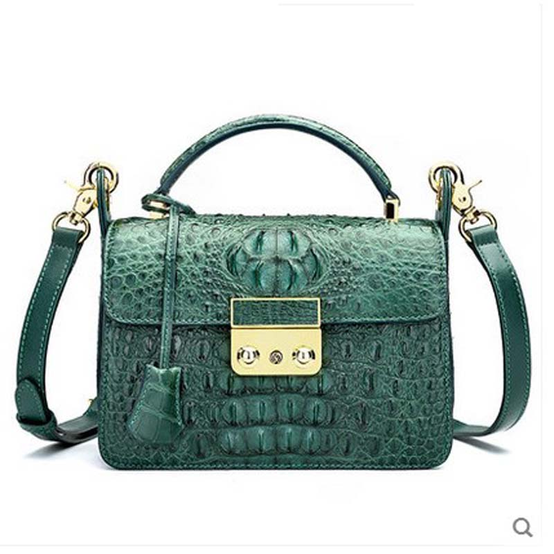 hlt Thai crocodile leather bill single shoulder bag female 2017 new large capacity fashion slanting small square bag women flap dadi1 dadi hlt 102