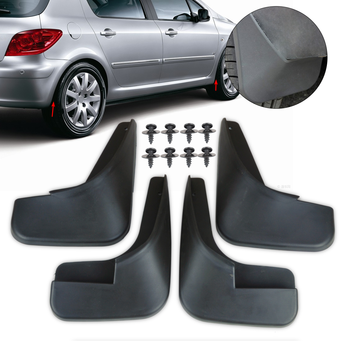 DWCX 4Pcs High Quality Rubber Mud Flaps Flap Splash Guards Mudguard Mudflaps Fenders For Peugeot 307 все цены