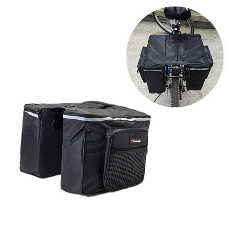 Black Seatpost Bags Bike Multifunction Road Bicycle Cycling Bag Double Side Rear Tail <font><b>Seat</b></font> <font><b>Rack</b></font> Pannier Bike Bag Accessories