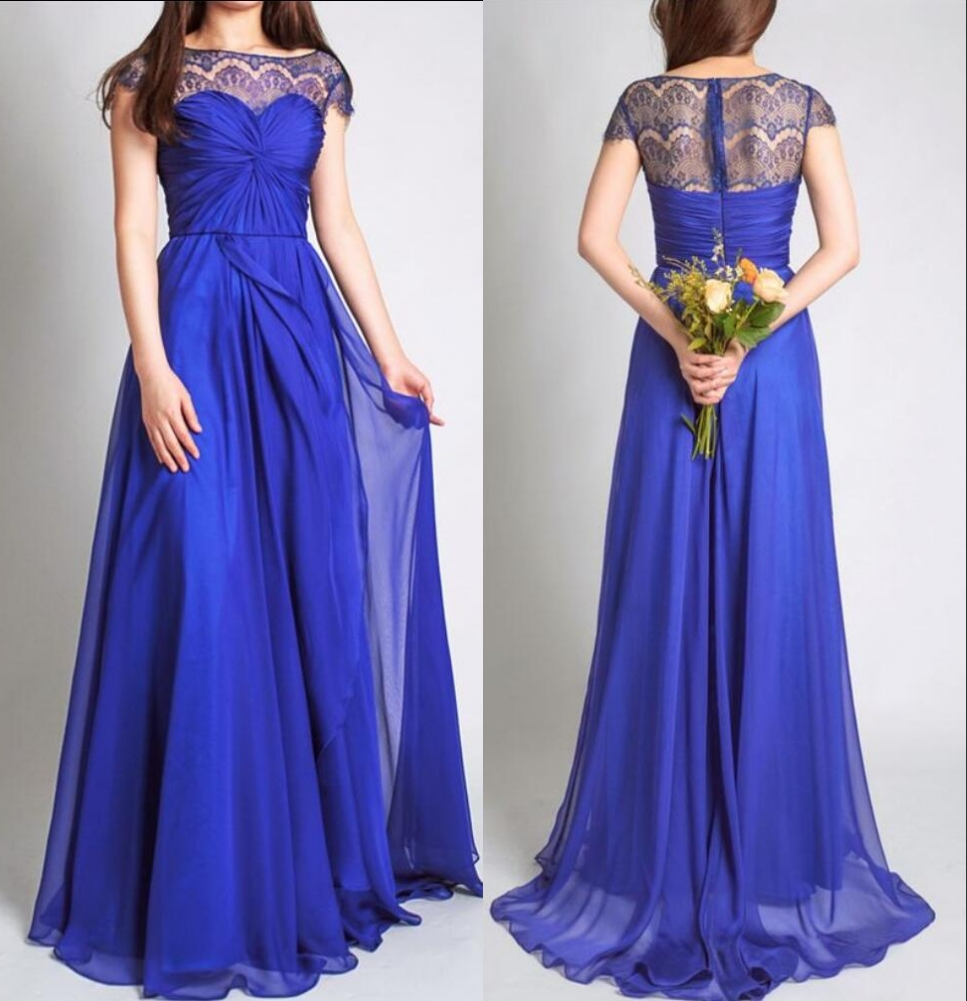 Royal Blue Long Modest Bridesmaid Dresses With Sleeves Lace Chiffon ...