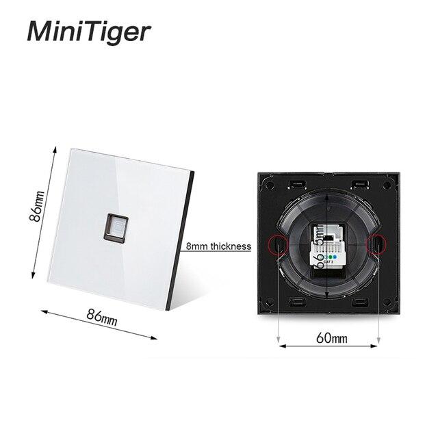 Minitiger Wit Luxe crystal Gehard Glas Frame Enkele RJ11 Tel Jack Telefoon Stopcontact Bedrading Accessoires|Elektrische aansluitingen|   -