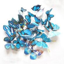 купить 12Pcs/Set PVC Blue Butterfly Wall Sticker For Living Room 3D Wall Decals  Modern Art Wallpaper Home Decoration Accessories Y91 по цене 57.32 рублей